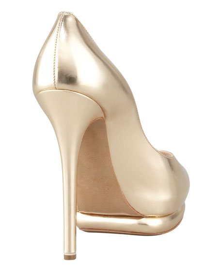 Metallic Leather Peep-Toe Double-Platform Pump, Gold