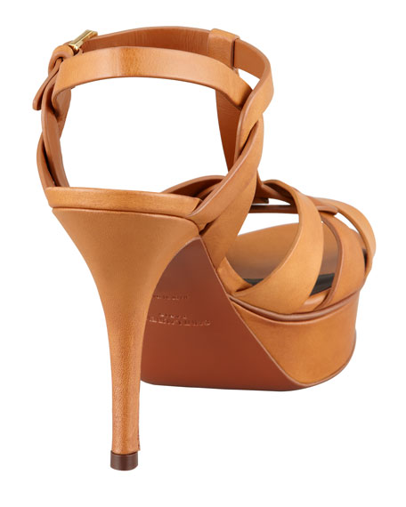 "Tribute Leather Sandal, Brown, 4"" Heel"