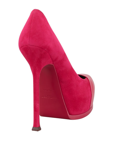 Tribute Two Patent-Cap Suede Pump, Fuchsia