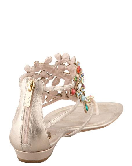 Multi-Stone Flat Thong Sandal
