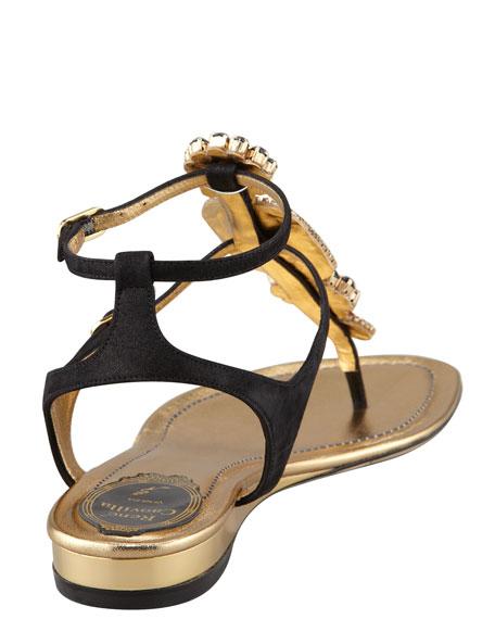 Stone-Strap Ankle-Wrap Flat Thong Sandal