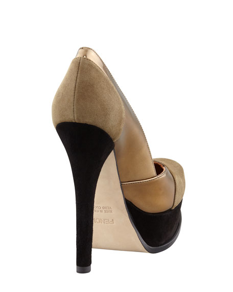 Fendista Colorblock Pump, Gray/Bronze