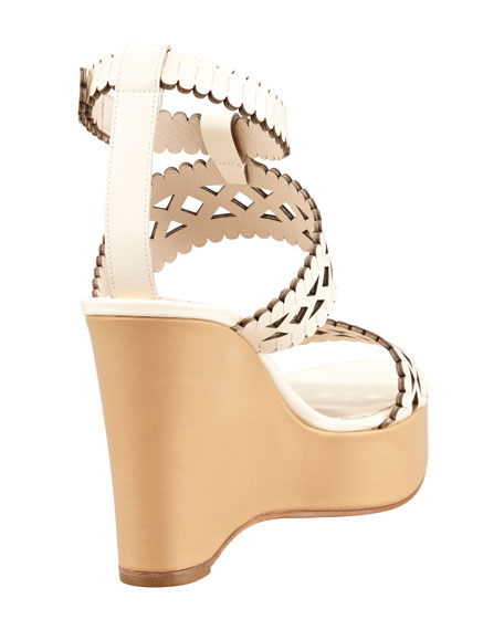 Pierced Wedge Sandal, Ivory