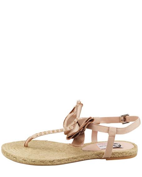 Satin Bow Espadrille Thong Sandal