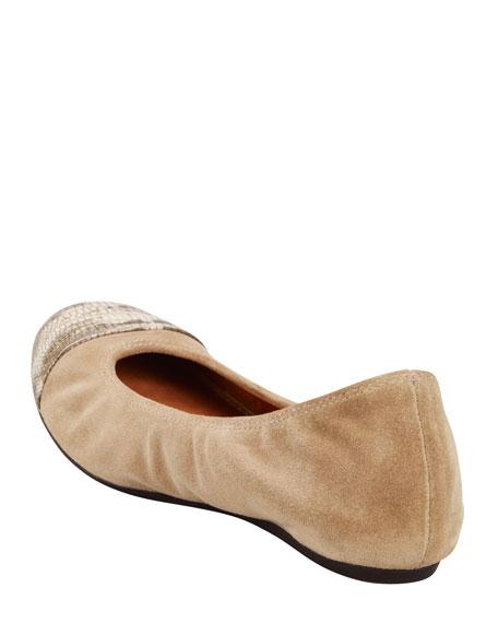 Lizard-Embossed Cap-Toe Ballerina Flat