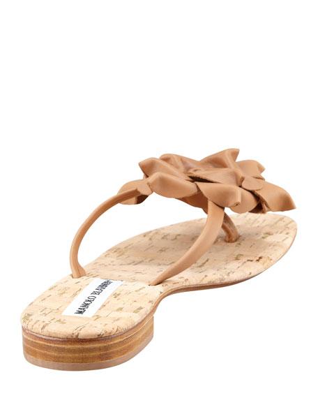 Patricia Flower Thong Flat Sandal, Beige