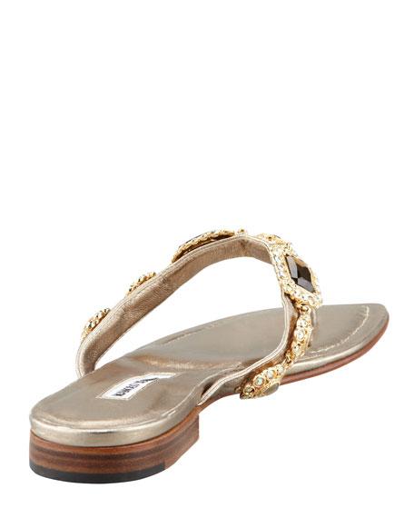 Cesabiflat Bejeweled Flat Sandal