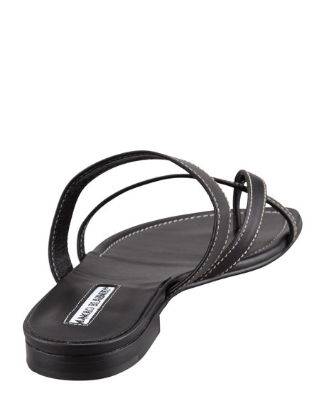 Susa Flat Leather Sandal, Black