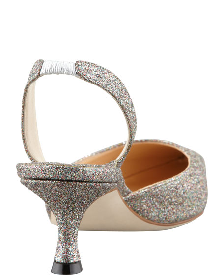 Carolyne Glittered Low-Heel Halter Pump