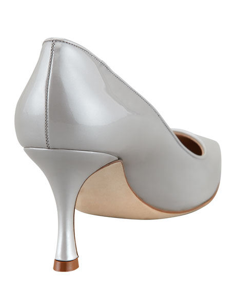 Newcio Patent Leather Pointed Toe Pump, Silver