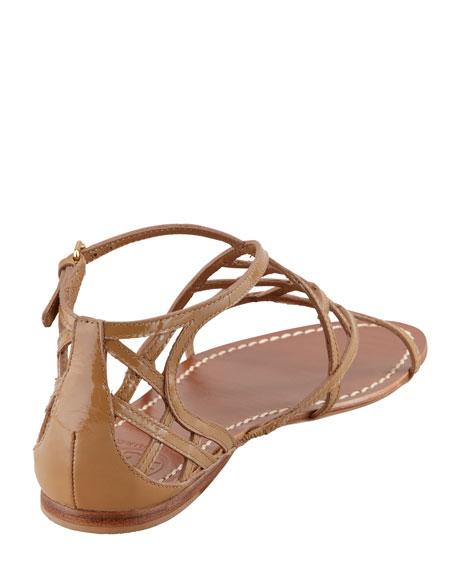 1d57741fa8029 Tory Burch Amalie Patent Leather Flat Cage Sandal