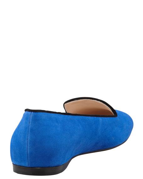 Bicolor Suede Smoking Slipper, Blue/Black