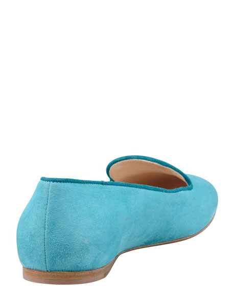 Bicolor Suede Smoking Slipper, Turquoise