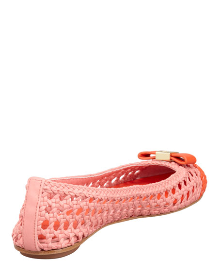 Carlyle Woven Leather Ballerina Flat, Blush Pink/Orange