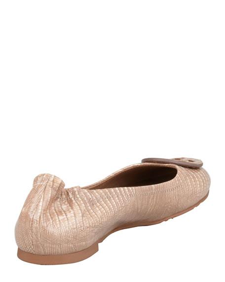 Reva Lizard-Print Ballet Flat, Nut