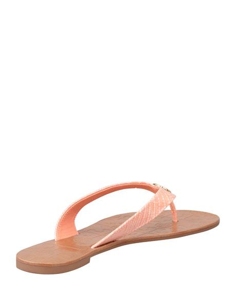 Thora 2 Lizard-Print Thong Sandal, Tart Orange