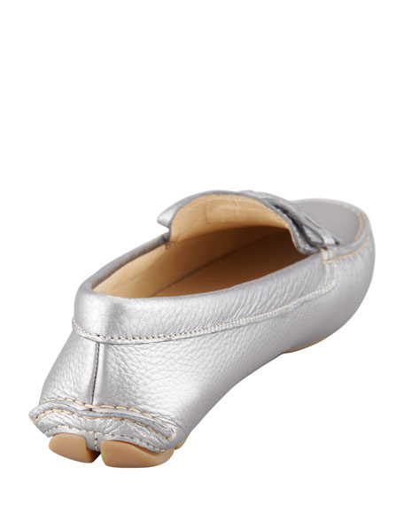 Metallic Leather Driver, Silver