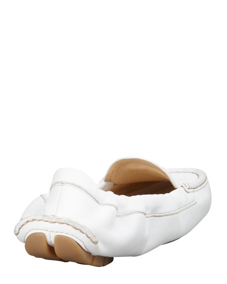 Leather Scrunch Driver, White