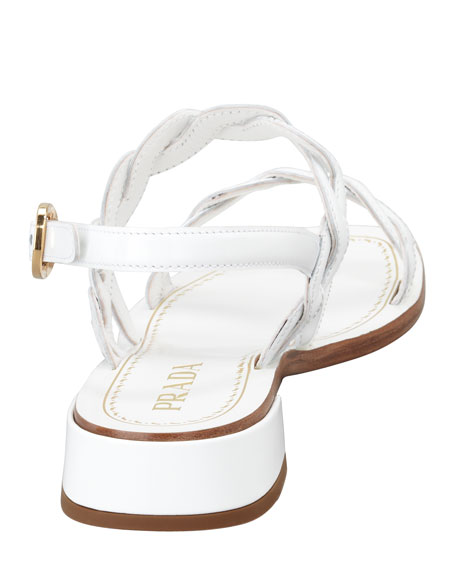 Twisted Patent Leather Sandal, White