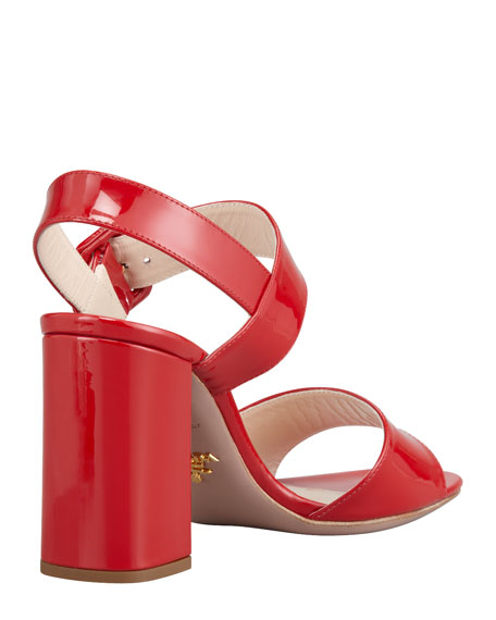 Patent Open-Toe Buckle Sandal, Red