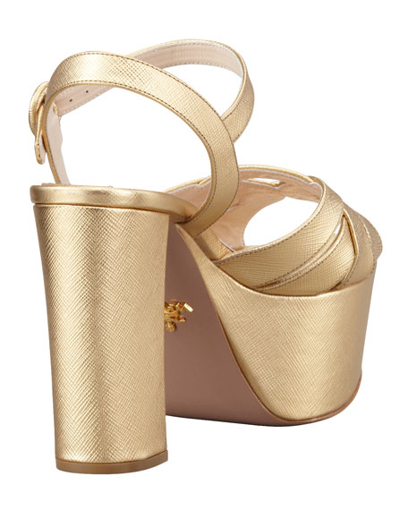 Metallic Leather Platform Sandal, Platinum