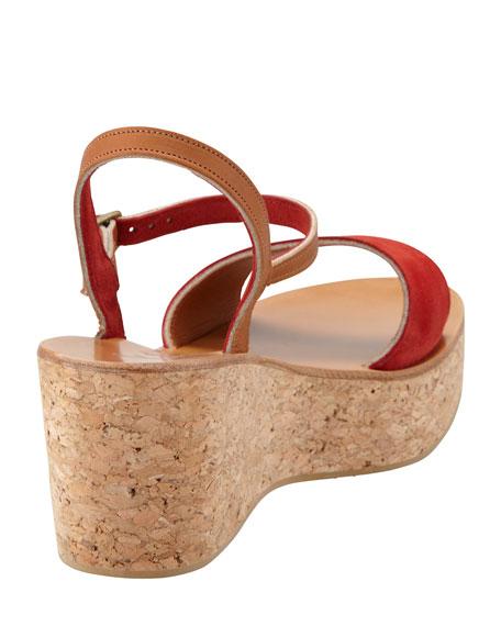 Josy Suede Cork Wedge Sandal, Coral