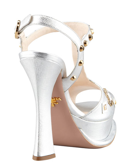 Floral Applique T-Strap Sandal, Silver
