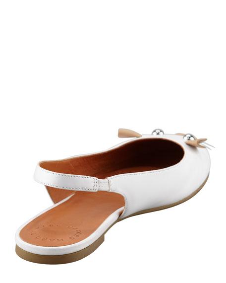 Mouse Slingback Ballerina Flat, White/Nude
