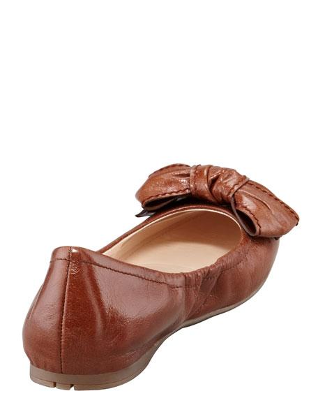 Leather Logo Bow Scrunch Ballet Flat