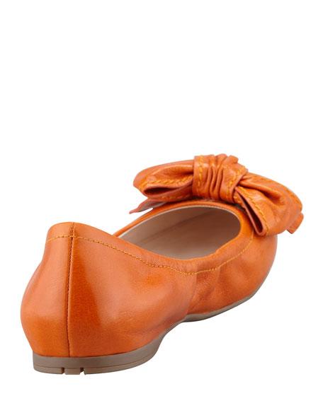 Leather Logo Bow Scrunch Ballet Flat, Papaya
