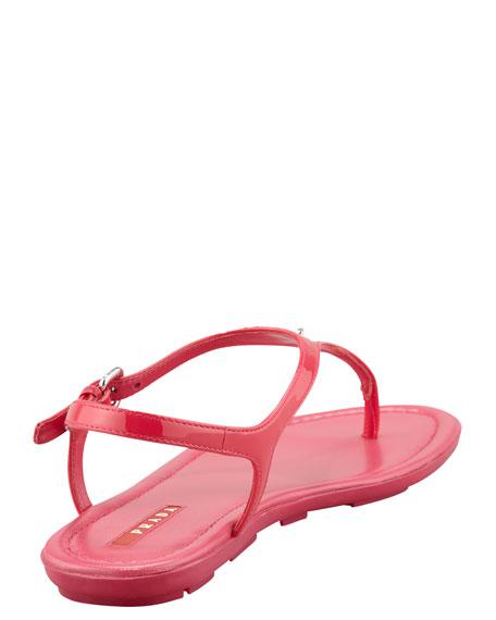 Patent Leather Logo Thong Sandal, Fuchsia