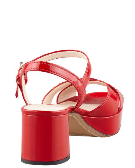 Patent Crisscross Platform Sandal, Red