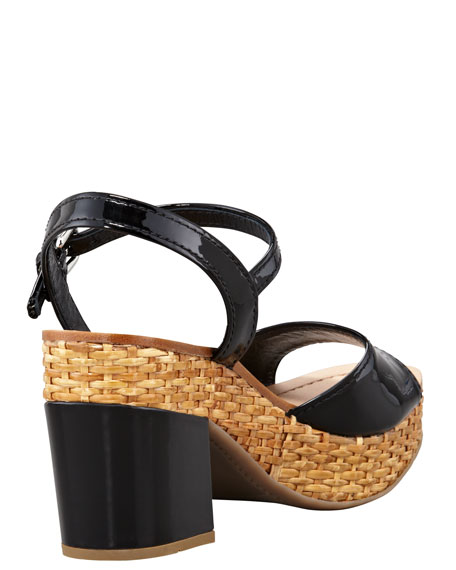 Patent Wicker Platform Sandal, Black