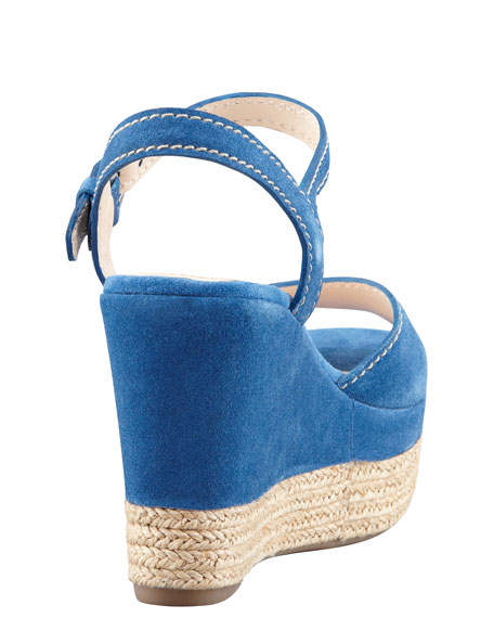 Suede Espadrille Trim Wedge Sandal, Blue