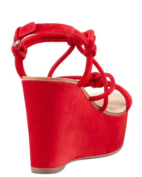 Suede Strappy Knot Wedge Sandal, Red