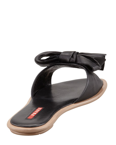 Leather Bow Slide Sandal, Black