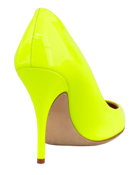 licorice patent pointed-toe pump, yellow
