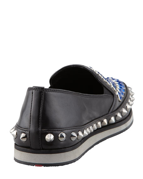 Jewel-Stud Slip-On Sneaker, Black/Blue