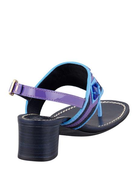 Etta Embellished Low-Heel Thong Sandal