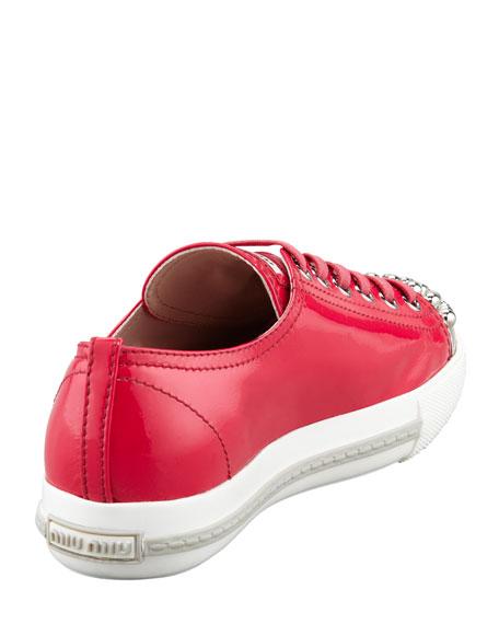 Studded Cap-Toe Sneaker, Fuchsia