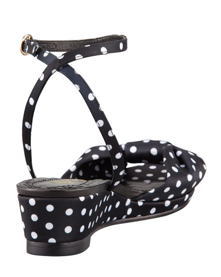 Alexi Polka-Dot Faille Low-Wedge Sandal