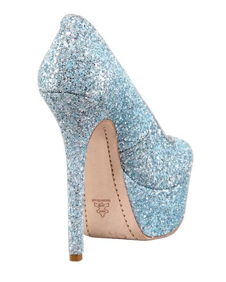 Larimore Glitter Platform Pump, Silver/Blue