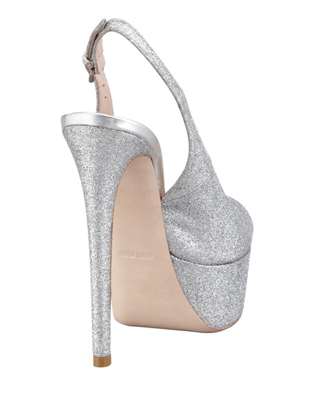 Glitter Platform Slingback Pump, Silver