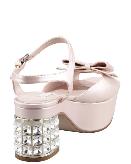 Patent Jewel-Heel Bow-Toe Sandal