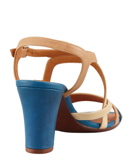 Via Colorblock Sandal, Nude/Teal