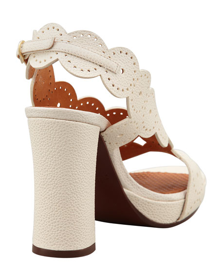 Cristi Circle Leather Sandal, Ivory
