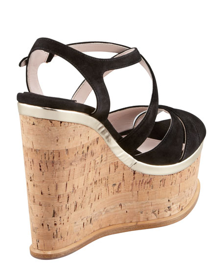 Strappy Suede Cork Wedge Sandal, Black
