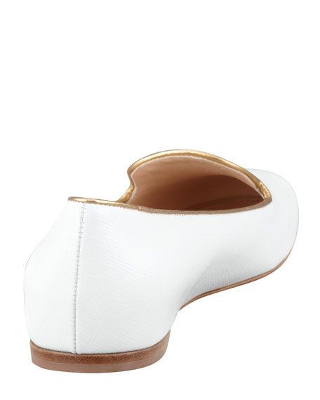 Saffiano Leather Loafer, White/Gold