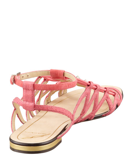 Agustina Stretch Flat Sandal, Rose