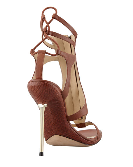 Merritta Zip-Front Sandal, Brown